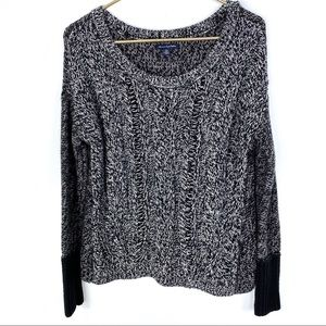 American Eagle Cable Knit Contrast Marled Sweater